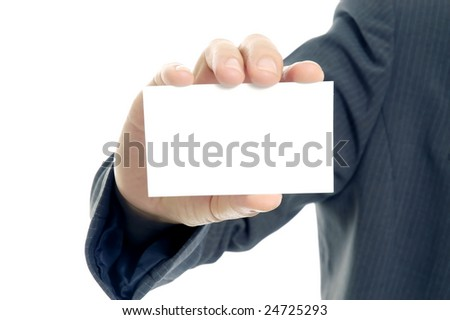 Displaying a blank card - stock photo