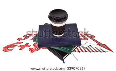 disposable coffee cup on books and drawing start up concept on floor - stock photo