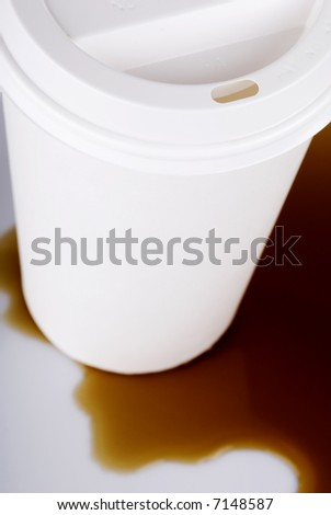 Disposable Coffee Cup Spill - stock photo