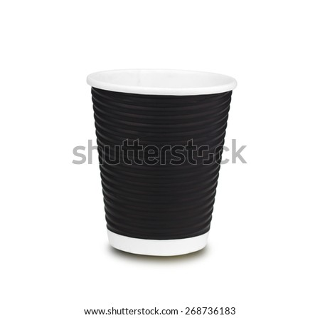 Disposable paper coffee cup  on white background - stock photo