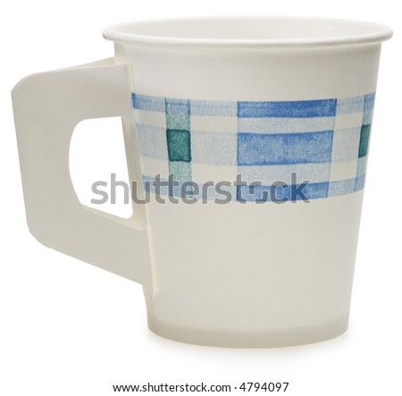 Disposable Paper Cup - isolated on white - stock photo