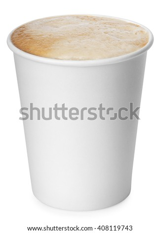 disposable paper cup of coffee with foam isolated on white background with clipping path. Coffe-to-go - stock photo