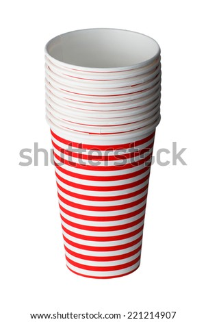 Disposable party cups isolated on a white background - stock photo