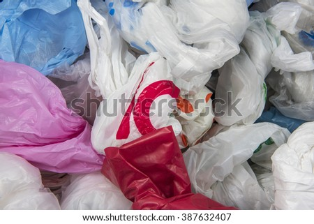 disposable Plastic bags background texture - stock photo