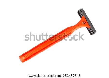 Disposable shaving razor isolated on white - stock photo