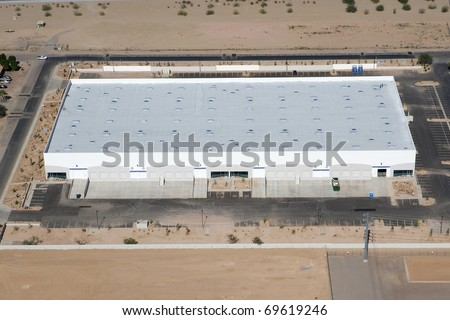 Disribution Warehouse from Above - stock photo