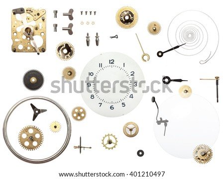 Dissasembled clock on white backgroung - stock photo