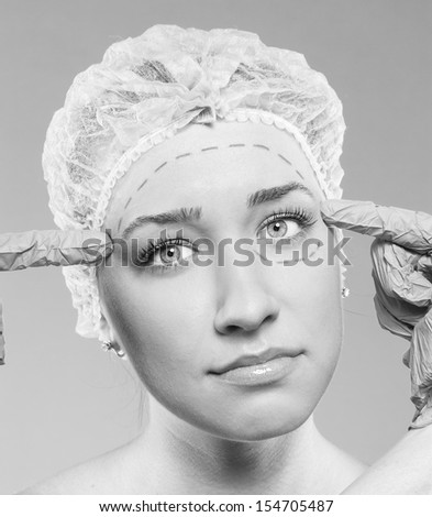 dissatisfied with the female. surgery - stock photo