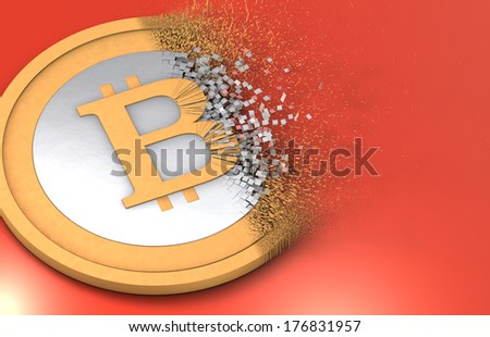 Dissolving Bitcoin under inflation - stock photo