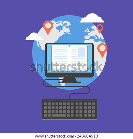 Distance education concept. Flat design stylish. Isolated on color background - stock photo