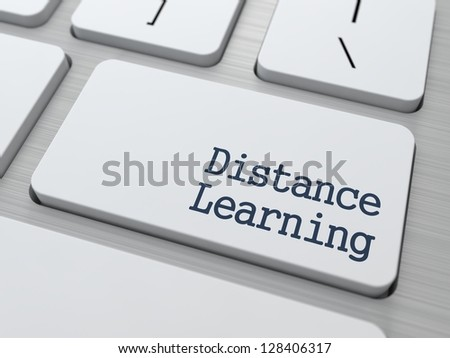 Distance Learning Button on Modern Computer Keyboard with Word Partners on It. - stock photo