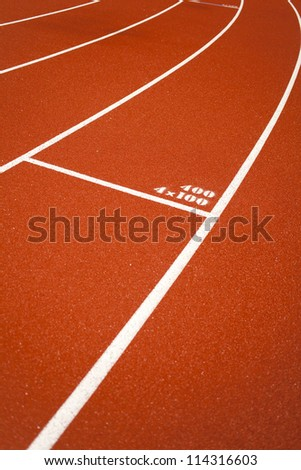 distance number, distance number on red rubber racetracks - stock photo