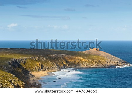Distance view of Remarkable Rocks, natural rock formation at Flinders Chase National Park. One of Kangaroo Island's iconic landmarks, South Australia - stock photo