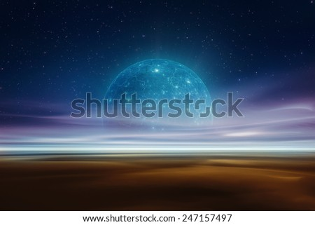 Distant alien world fantasy landscape - stock photo