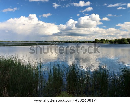 Distant Rain viewed from Lake Shore - stock photo