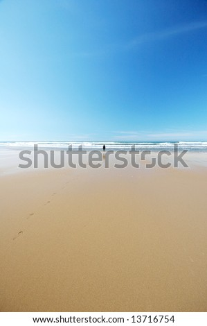 Distant silhouette of a woman standing on a bright, beautiful beach by the wave line, with a footstep trail in the wet sand. - stock photo