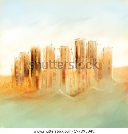 distant skyscrapers, cityscape - freehand drawing, loosely suggested shapes - draft only, digital painting, urban symbolics - stock photo