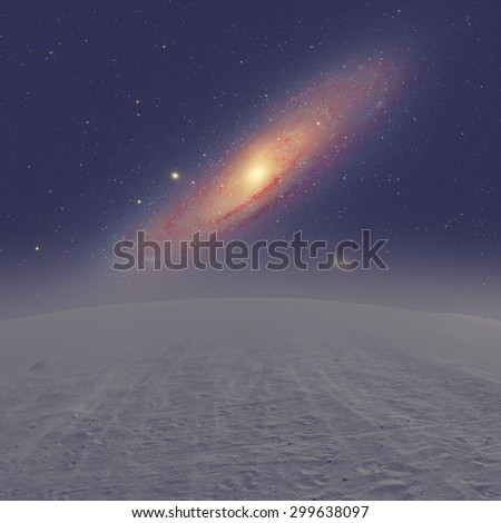 Distant stellar system. Andromeda galaxy photographed through my telescope. Planet surface is my work. - stock photo