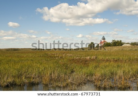 Distant View Of East Point Lighthouse, Thompson Beach, New Jersey Horizontal With Copy Space - stock photo