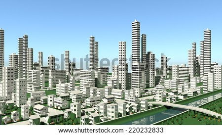 Distant view of urban - stock photo