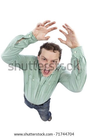 Distorted image of a scared man shouting and gesturing. Fish-eye lens used. Studio shot. Isolated on pure white background. - stock photo