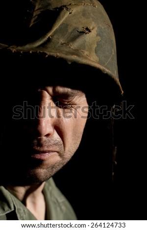 Distraught Vietnam War US GI - stock photo