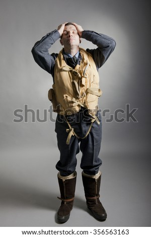 Distraught WW2 Pilot / Aircrew Member - stock photo