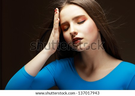 Distress. Woe. Upset Tired Woman Touching her Forehead. Difficulties - stock photo