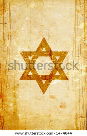 distressed paper with star of david - stock photo