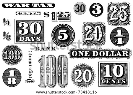 Distressed, vintage black and white graphic elements from 1870 through 1920.  Numbers and words, isolated on white. - stock photo