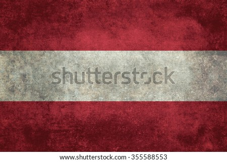 Distressed worn version of the Austrian national flag - stock photo