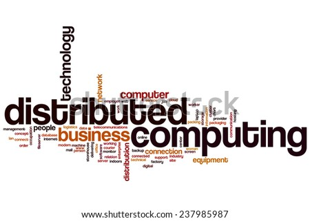 Distributed computing word cloud concept - stock photo