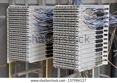 Distribution frames in telecommunication systems - stock photo