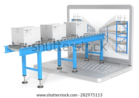 Distribution. Industrial Conveyor with cardboard Boxes connected to Laptop Screen. Warehouse shelves. - stock photo
