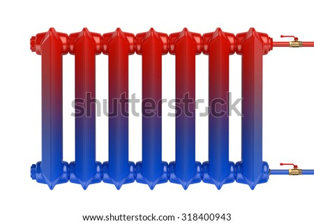 Distribution of heat flow in the cast iron heating radiator isolated on white background - stock photo