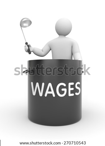 Distribution of salaries. White character holding a ladle and a large black pot with inscription WAGES - stock photo