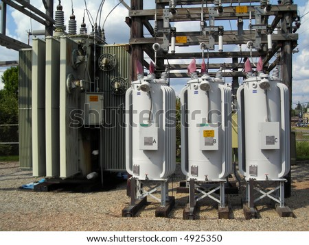 Distribution Substation, Voltage Regulators - stock photo