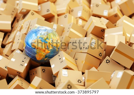 Distribution warehouse, international package shipping, global freight transportation, logistics and delivery concept, heap of cardboard boxes, parcels and Earth globe (Elements furnished by NASA) - stock photo