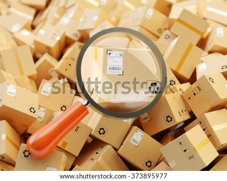 Distribution warehouse, international package shipping, global freight transportation, logistics, delivery and tracking concept, heap of cardboard boxes and magnifying glass zoom in parcel label - stock photo