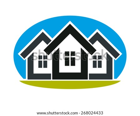 District conceptual illustration  - three simple houses. Houses art picture, real estate theme. Abstract image, best for use in advertising, estate and construction business. - stock photo