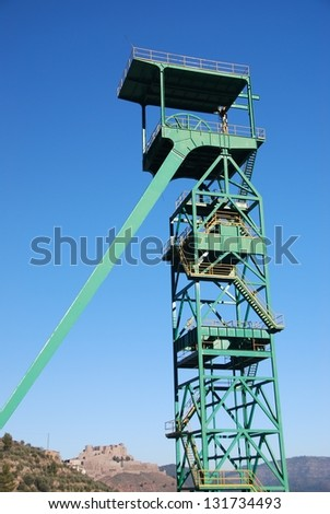 Disused tower of the potash mine of Cardona, Catalonia, Spain - stock photo