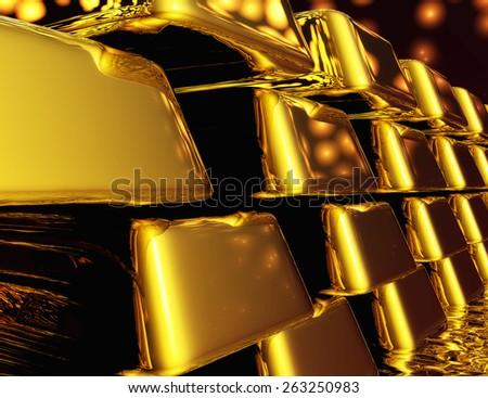 Diugital Illustration of Gold Bullions - stock photo