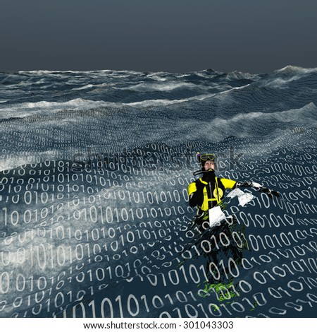 Diver floats at surface of binary sea Computer and internet concept - stock photo