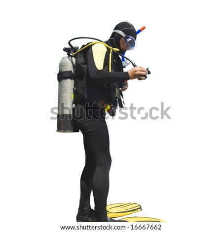 Diver isolated on white background - stock photo