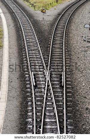 Divergence of Harz narrow gauge railway tracks - stock photo
