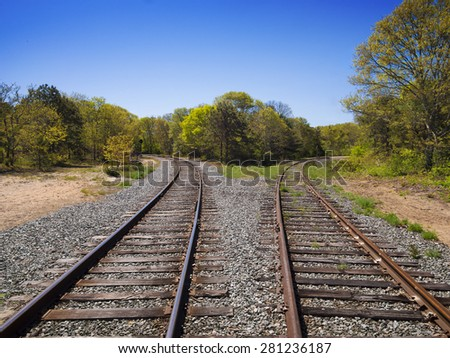 Diverging Tracks - stock photo