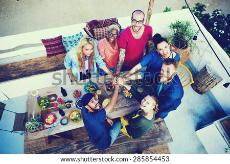 Diverse Beach Summer Friends Fun Teamwork Concept - stock photo