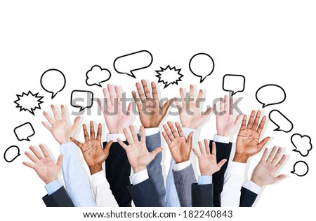 Diverse Business Hands Raised With Speech Bubbles - stock photo
