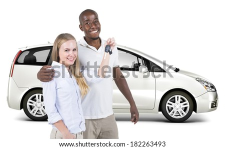 Diverse Couple With a New 3D Car - stock photo
