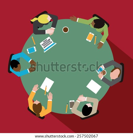 Diverse group of business men and women having discussion at round conference table royalty free illustration for ads, poster, flier, signage, promotion, blog, marketing - stock photo
